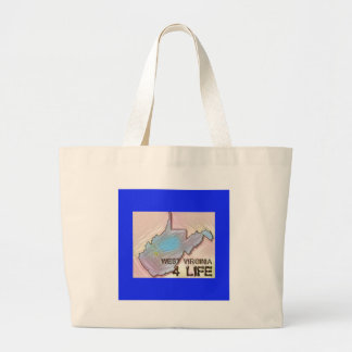"""West Virginia 4 Life"" State Map Pride Design Large Tote Bag"
