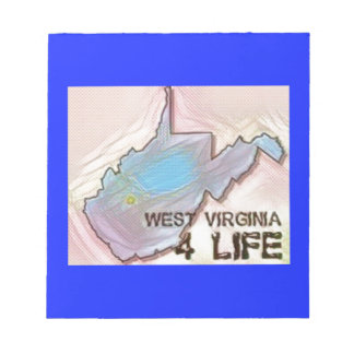 """""""West Virginia 4 Life"""" State Map Pride Design Notepads"""