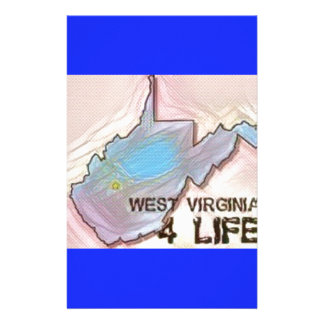 """""""West Virginia 4 Life"""" State Map Pride Design Personalised Stationery"""