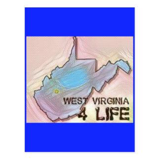 """West Virginia 4 Life"" State Map Pride Design Postcard"