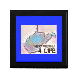 """""""West Virginia 4 Life"""" State Map Pride Design Small Square Gift Box"""