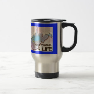 """West Virginia 4 Life"" State Map Pride Design Travel Mug"