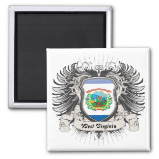 West Virginia Crest Square Magnet