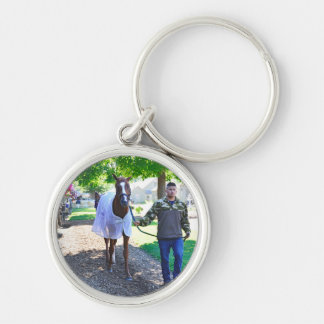 "West Virginia Derby Winner ""Madefromlucky"" Silver-Colored Round Key Ring"