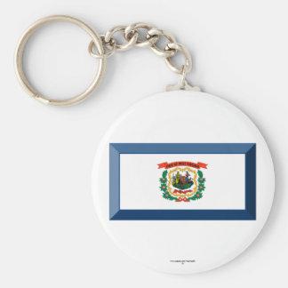 West Virginia Flag Gem Basic Round Button Key Ring