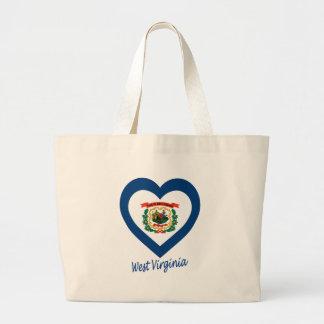 West Virginia Flag Heart Tote Bag