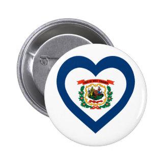 West Virginia Flag Heart Pinback Buttons
