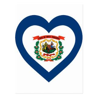 West Virginia Flag Heart Post Card