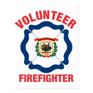 West Virginia Flag Volunteer Firefighter Cross Post Cards