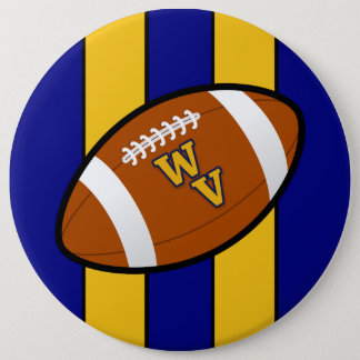 West Virginia Football Blue and Gold Pride 6 Cm Round Badge