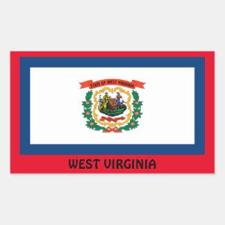 West Virginia Glossy Flag Rectangular Sticker