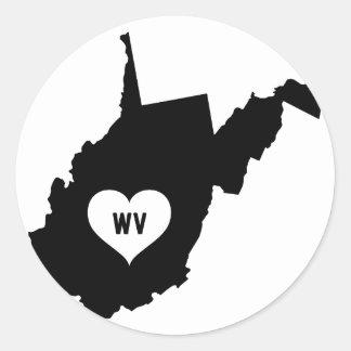 West Virginia Love Classic Round Sticker