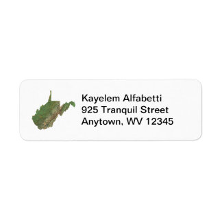 West Virginia Map Return Address Label