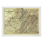 West Virginia Midland Railroad Map 1883 Posters