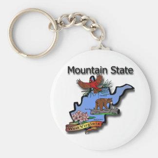 West Virginia Mountain State Cardinal Bear Rhodode Key Ring
