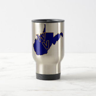 West Virginia Pride Blue and Gold Travel Mug