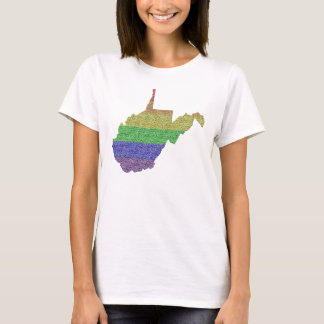 West Virginia Rainbow Pride Flag Mosaic For Her T-Shirt