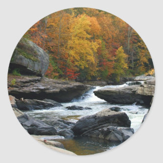 West Virginia River in the fall Classic Round Sticker