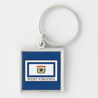 West Virginia Silver-Colored Square Key Ring
