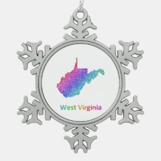 West Virginia Snowflake Pewter Christmas Ornament