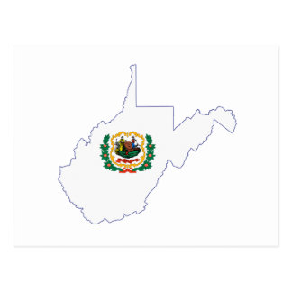 West Virginia State Flag and Map Postcard