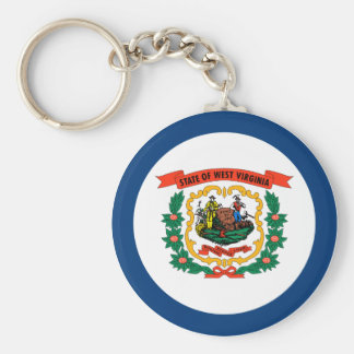 West Virginia State Flag Basic Round Button Key Ring