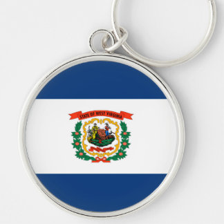 West Virginia State Flag Design Silver-Colored Round Key Ring