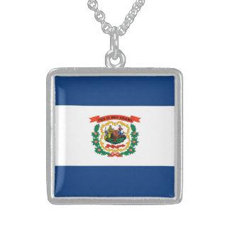 West Virginia State Flag Design Square Pendant Necklace