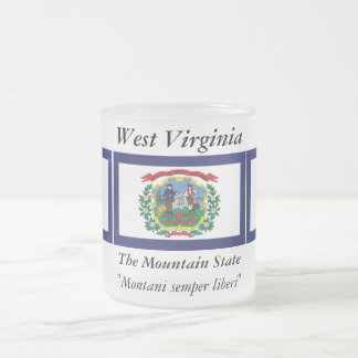 West Virginia State Flag Frosted Glass Coffee Mug