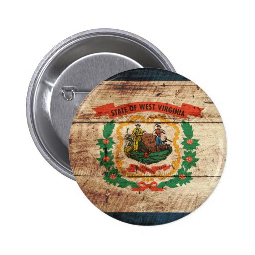West Virginia State Flag on Old Wood Grain Pinback Button