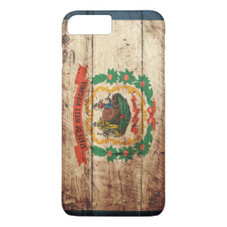 West Virginia State Flag on Old Wood Grain iPhone 7 Plus Case
