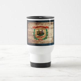 West Virginia State Flag on Old Wood Grain Mug