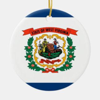 West Virginia State Flag Round Ceramic Decoration