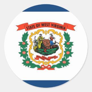 West Virginia State Flag Round Sticker
