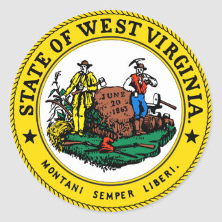 West Virginia state seal.jpg Classic Round Sticker