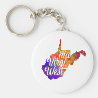West Virginia U.S. State in watercolor text cut Key Ring