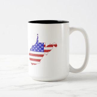 West Virginia USA flag silhouette state map Coffee Mugs