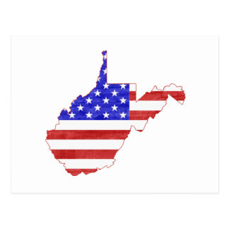 West Virginia USA flag silhouette state map Postcard