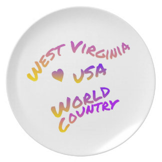 West Virginia usa world country, colorful text art Plate