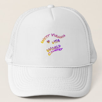 West Virginia usa world country, colorful text art Trucker Hat