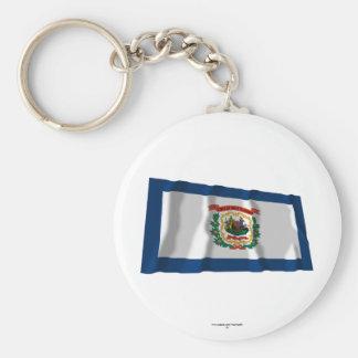 West Virginia Waving Flag Keychains
