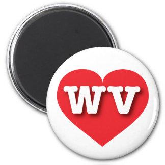 West Virginia WV red heart 6 Cm Round Magnet