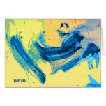 """""""West Wind"""" Colourful Note Card in Blue and Yellow"""