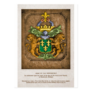Westerfield Dutch Family Coat Of Arms. Postcard