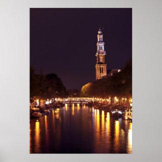 Westerkerk by night in Amsterdam the Netherlands Poster