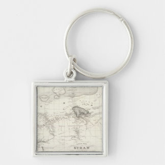 Western Africa Silver-Colored Square Key Ring
