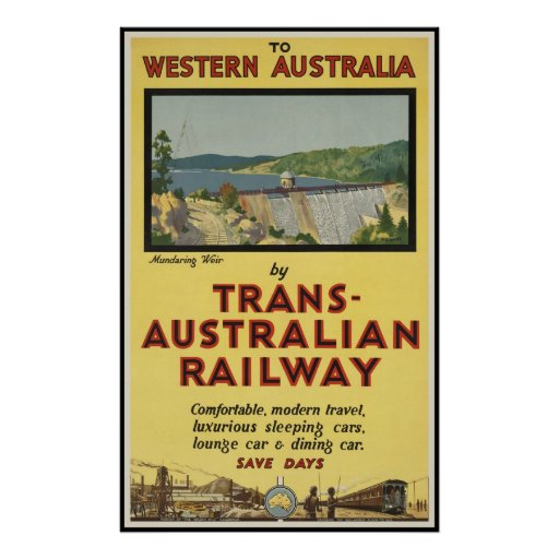 western australia by trans australian railway poster zazzle. Black Bedroom Furniture Sets. Home Design Ideas