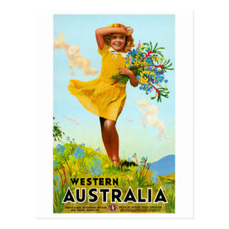 Western Australia Restored Vintage Travel Poster Postcard