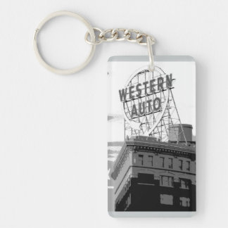 Western Auto Single-Sided Rectangular Acrylic Key Ring