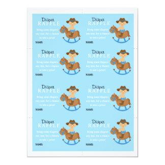Western Baby Boy Diaper Raffle 17 Cm X 22 Cm Invitation Card